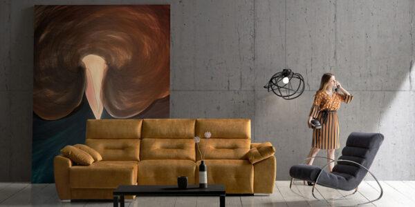 Sofá chaise longue 10b-0010 color amarillo vista ambiente