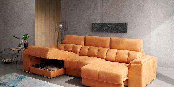 Sofá chaise longue 10b-0011 color naranja vista detalle asientos