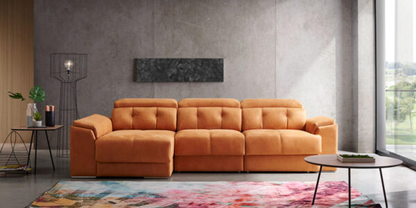 Sofá chaise longue 10b-0011 color naranja vista frontal