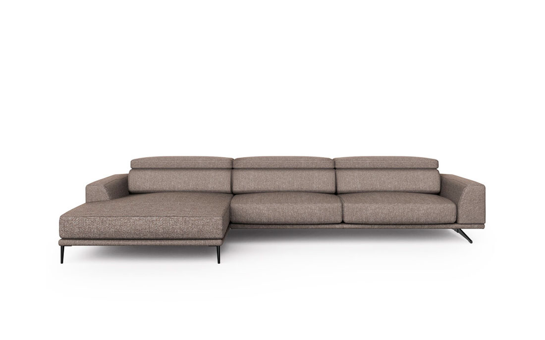 Sofá chaise longue 10b-0014 marrón vista frontal