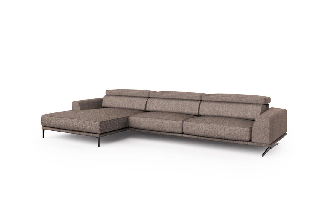 Sofá chaise longue 10b-0014 marrón vista lateral