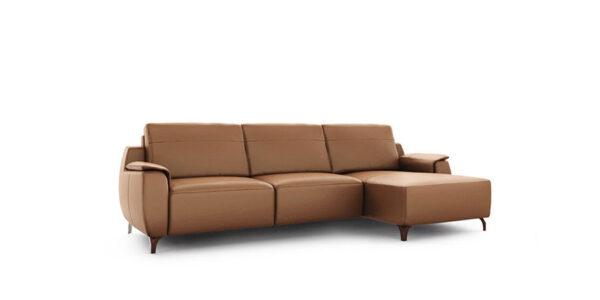 Sofá Chaise Longue 10b-0015 con tapizado marrón vista técnica