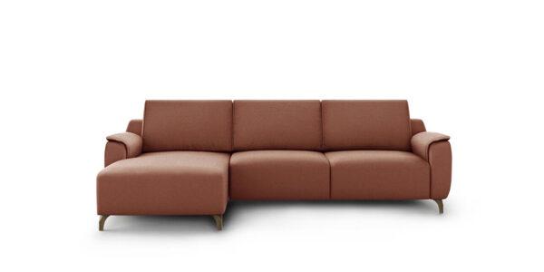 Sofá Chaise Longue 10b-0015 con tapizado marrón vista frontal