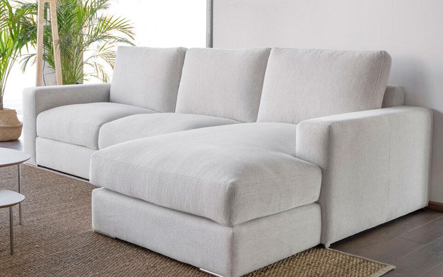 Sofá Chaise Longue 10b-0016 color blanco vista de ambiente