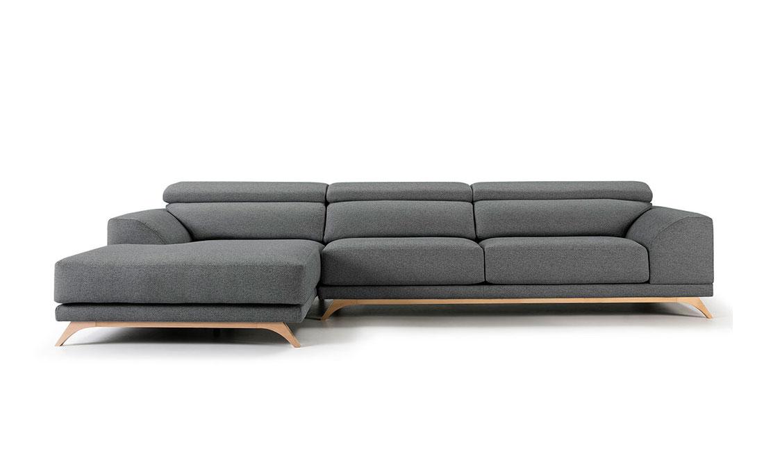Sofá Chaise Longue 10b-0017 color gris vista frontal