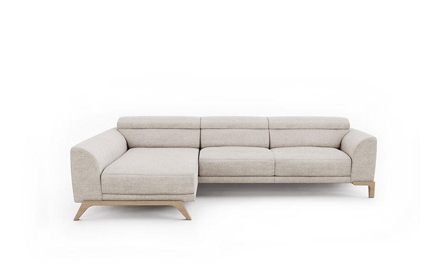 Sofá Chaise Longue 10b-0019 color beige vista técnica frontal