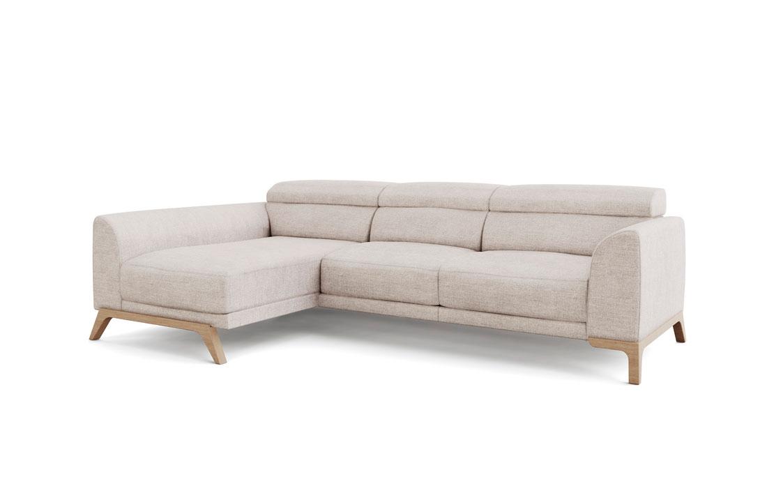 Sofá Chaise Longue 10b-0019 color beige vista técnica