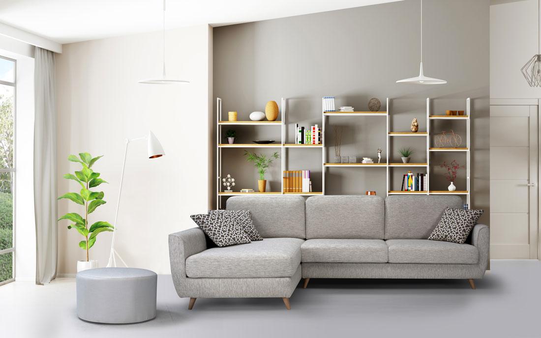 Sofá Chaise Longue 10b-0022 color beige vista ambiente
