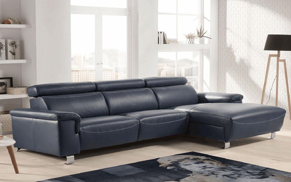 Sofá Chaise Longue 10b-0023 color azul vista de ambiente