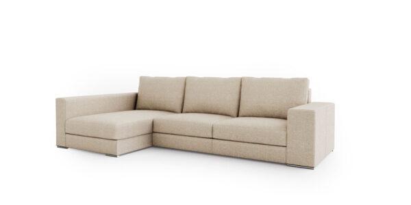 Sofá Chaise Longue de brazo largo 10b-0016 color beige vista técnica