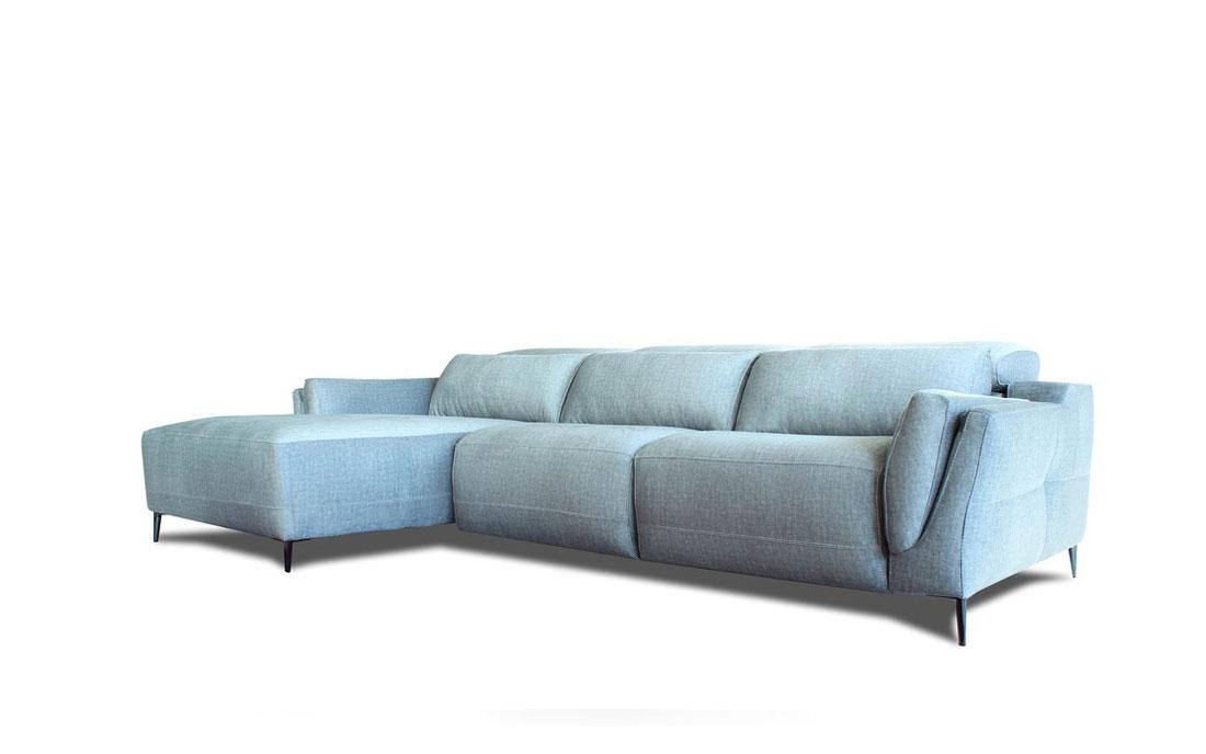 Sofá Chaise Longue 10b-0002 azul vista técnica frontal