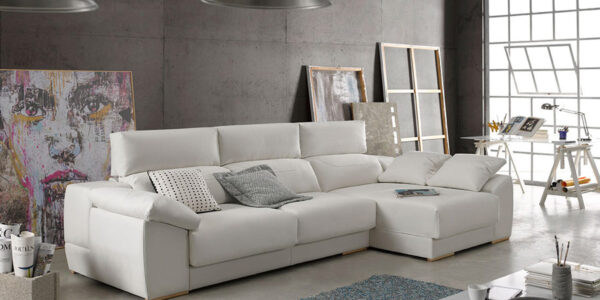 Sofá chaise longue 10b-0005 color beige vista ambiente