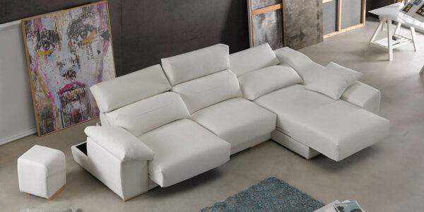 Sofá chaise longue 10b-0005 color beige vista detalle de asientos deslizantes