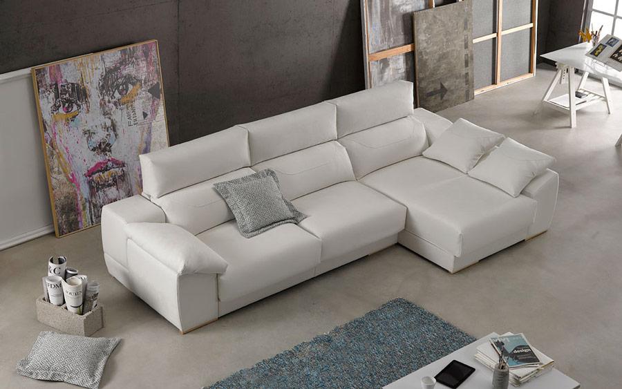 Sofá chaise longue 10b-0005 color beige vista top