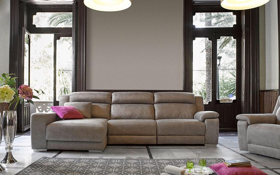 Sofá chaise longue 10b-0006 color beige vista ambiente