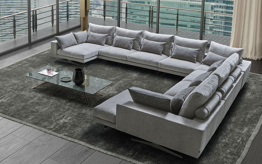 Sofá rinconera 10c-0014 color gris vista ambiente