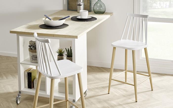 Taburete de cocina 15d-0005 color blanco y madera vista ambiente