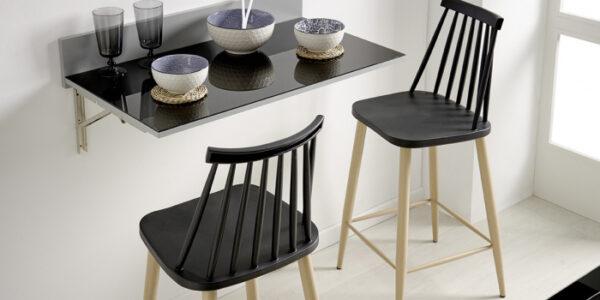 Taburete de cocina 15d-0005 color negro y madera vista ambiente