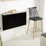 Taburete de cocina 15d-0005 color negro y madera vista ambiente frontal