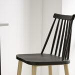 Taburete de cocina 15d-0005 color negro y madera vista ambiente lateral
