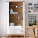 Vitrina de salón 14c-0016 madera y blanco vista ambiente
