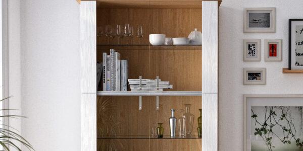 Vitrina de salón 14c-0016 madera y blanco vista ambiente de detalle
