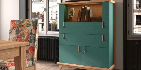 Vitrina de salón 14c-0017 madera y verde vista de ambiente