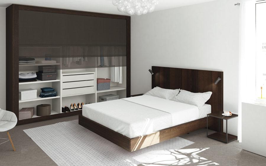 Armario automatizado en dormitorio de matrimonio 11b-0002 madera vista general