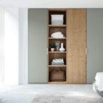 Armario de puertas abatibles y estantería 11b-0002 gris y madera vista general