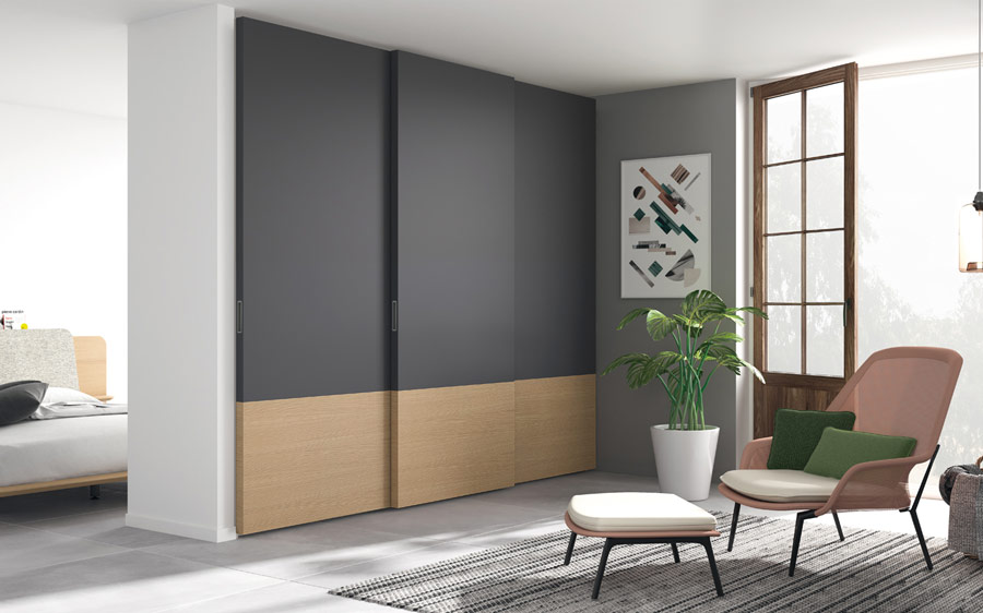 Armario de tres puertas corredera 11b-0002 gris y madera vista general