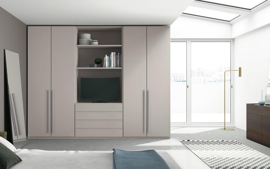 Armario con espacio para tv de dormitorio 11b-0002 color beige vista general