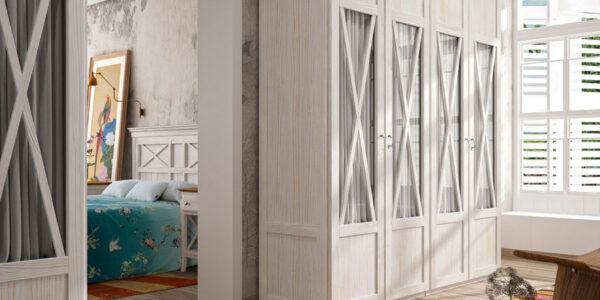 Armarios de puertas abatibles 11b-0001 color blanco veteado vista general