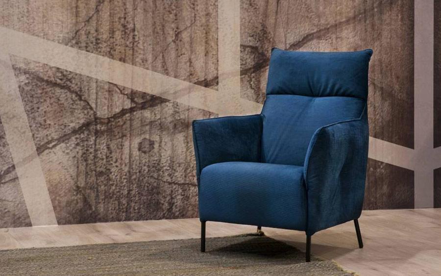 butaca fija 10a-0009 color azul vista ambiente