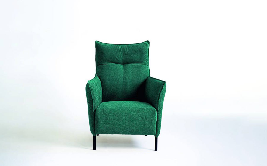 Butaca fija 10a-0009 color verde vista técnica frontal