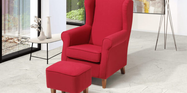 Butaca fija con taburete 10a-0010 color rojo vista ambiente
