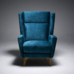 Butaca fija 10a-0012 color azul vista técnica frontal