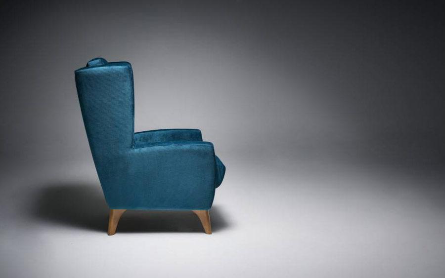 Butaca fija 10a-0012 color azul vista técnica lateral