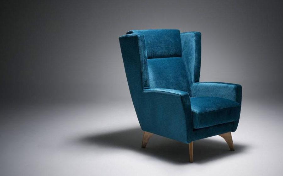 Butaca fija 10a-0012 color azul vista técnica