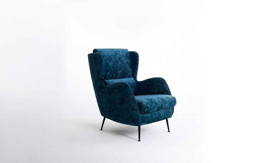 Butaca fija 10a-0015 color azul vista técnica