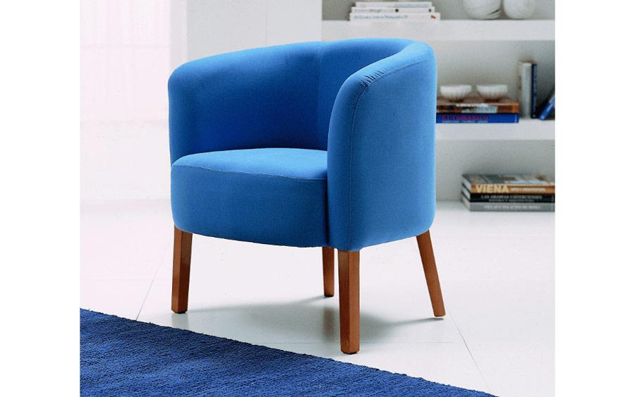 Butaca fija 10a-0017 color azul vista ambiente