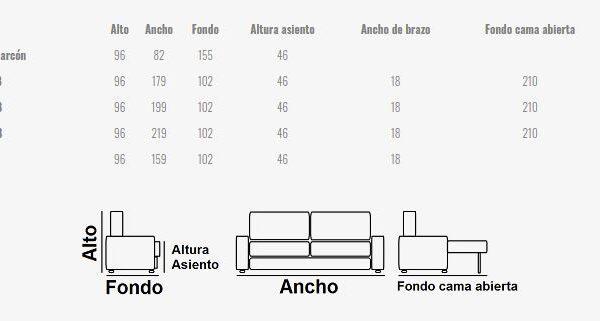 Ficha técnica sofá cama 2-3 plazas 10e-0010