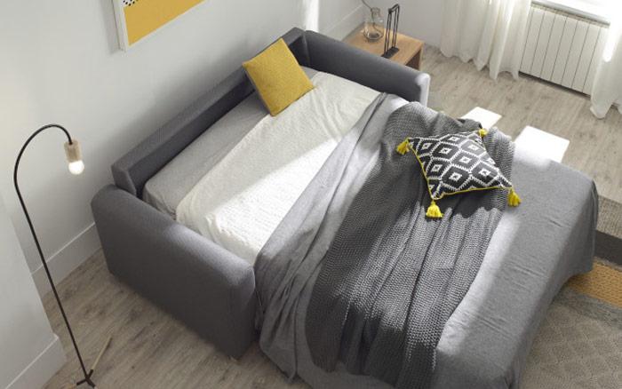 Sofá cama 10e-0010 color gris vista detalle de cama top