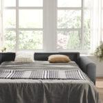 Sofá cama 10e-0010 color gris vista detalle de cama