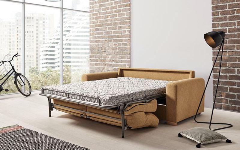 Detalle de sofá cama 10e-0010 color amarillo abierto