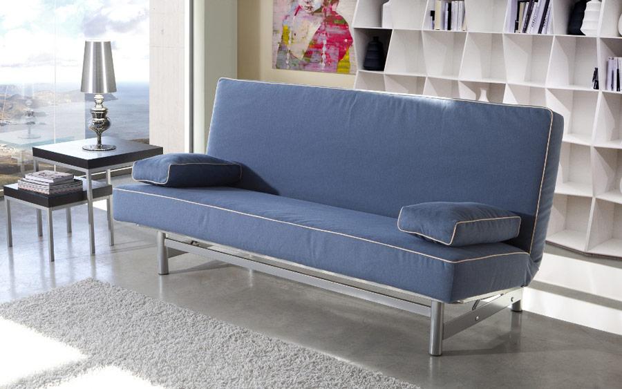 Sofá cama sistema de empuje 10e-0011 color azul vista ambiente