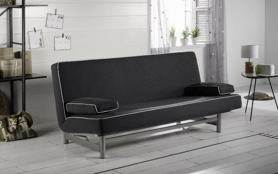 Sofá cama sistema de empuje 10e-0011 color negro vista ambiente