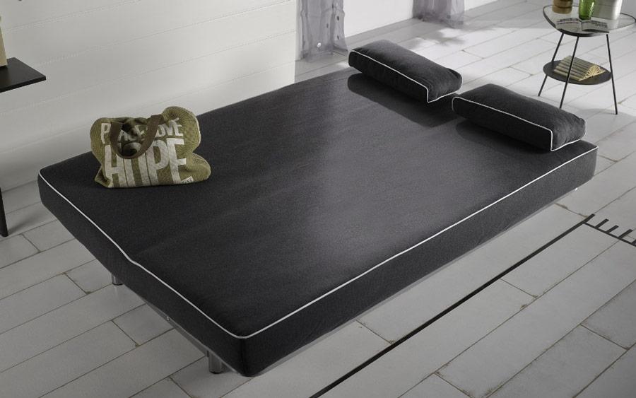 Sofá cama sistema de empuje 10e-0011 color negro vista de detalle cama